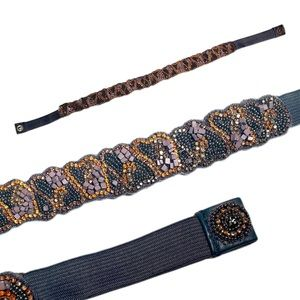 Anthropologie Small Jeweled Beaded Belt Blue